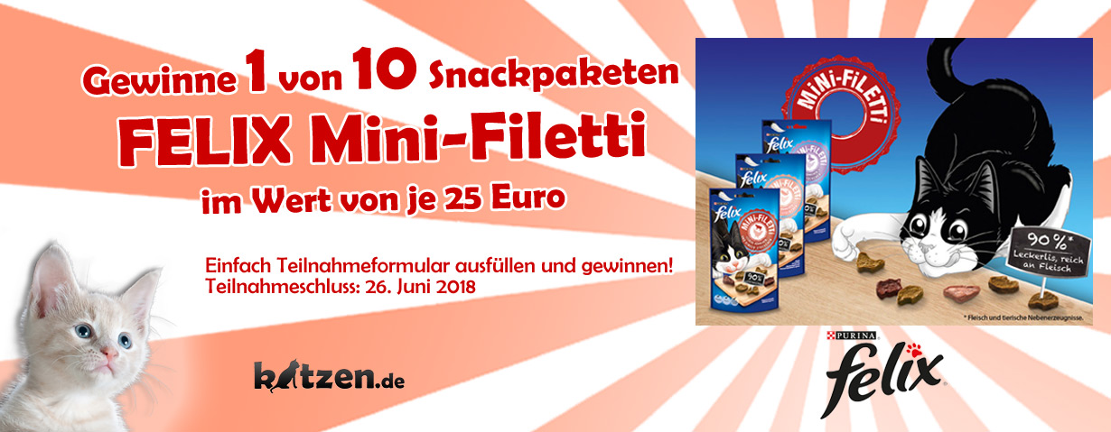 Gewinnspiel: FELIX Mini-Filetti - Das Filetstück im Katzensnack-Regal
