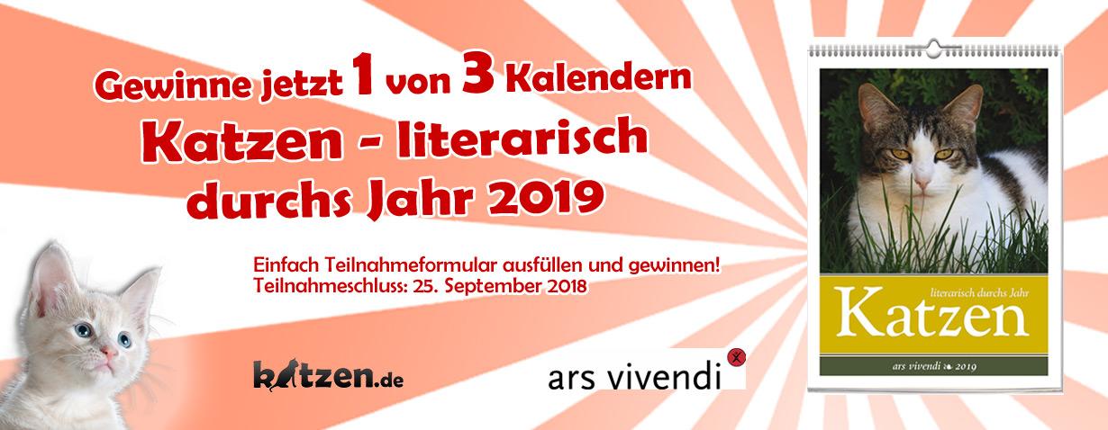 """Gewinnspiel: Wochenwandkalender """"Katzen"""" – literarisch durchs Jahr 2019"""