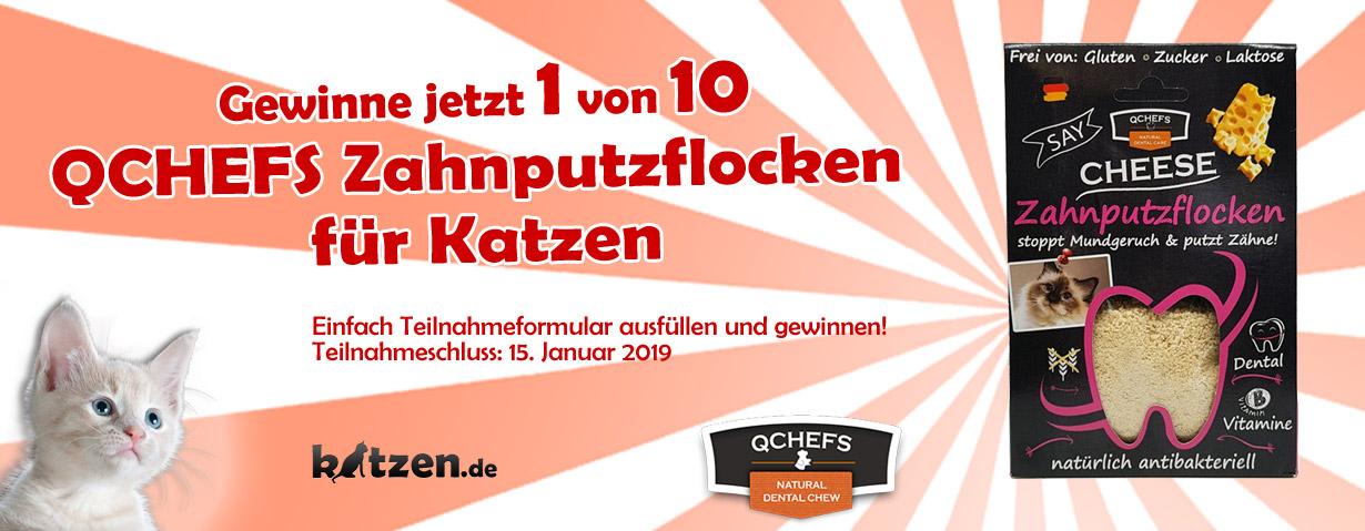 """Gewinnspiel: 10 mal """"QCHEFS Zahnputzflocken für Katzen"""""""