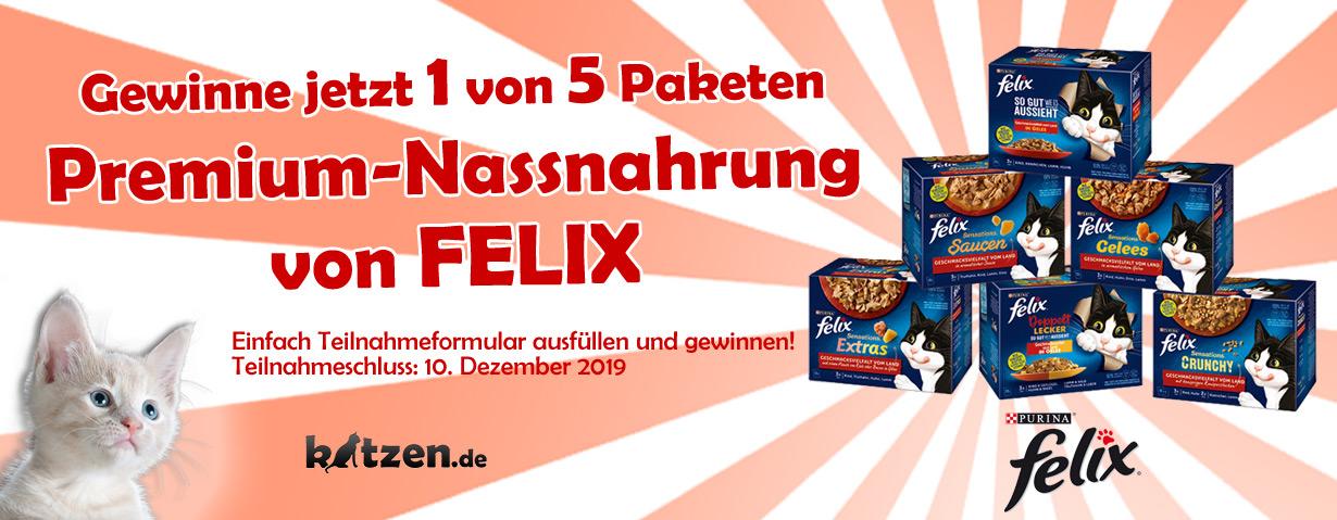 Gewinnspiel: Fünf leckere Pakete Premium-Nassnahrung von FELIX